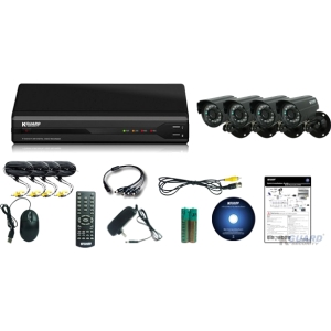 Kguard All-in-One Surveillance Combo Kit - 4CH H.264 DVR with 4 CMOS Cameras - 4 x Camera, Digital Video Recorder - H.264 Formats - 500 GB Hard Drive