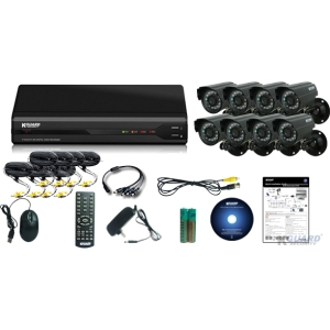 Kguard All-in-One Surveillance Combo Kit - 8CH H.264 DVR with 8 CMOS Cameras - 8 x Camera, Digital Video Recorder - H.264 Formats - 500 GB Hard Drive