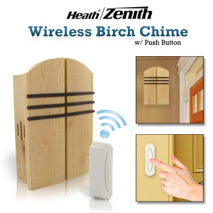 Heath Zenith SL-6510 Wireless Door Chime Kit With Solid Birch Wood Cover And Walnut Finish Accents