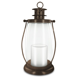 HomeReflections Indoor/Outdoor Flameless Candle Hurricane Lantern w/Timer &amp; Chain (Bronze)-H191794