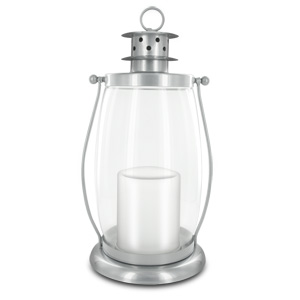HomeReflections Indoor/Outdoor Flameless Candle Hurricane Lantern w/Timer & Chain (Silver) -  H191794