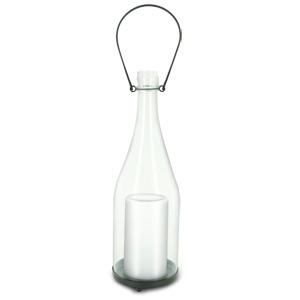 HomeReflections Indoor/Outdoor Glass Champagne Bottle with Flameless Candle and Timer (Clear) -  H191912