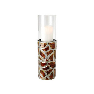 HomeReflections Animal Print Hurricane with Flameless Candle and Timer (Giraffe) -  H193430