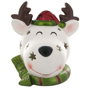 HomeReflections Porcelain Holiday Character Luminary with Timer - (Reindeer) - H168440