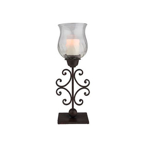 "HomeReflections Scroll Design 21"" High Metal Hurricane Lamp - H189585"