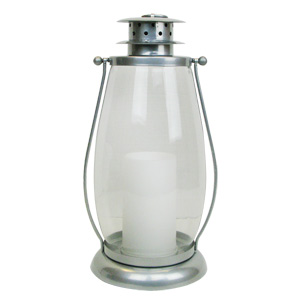 "HomeReflections 15"" Indoor/Outdoor Flameless Candle Lantern (Silver) - H191899"