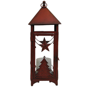 HomeReflections Holiday Lantern with Flameless Candle with Timer (Aged Red) - H192180