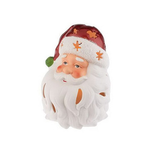 HomeReflections Porcelain Holiday Character Luminary with Timer (Santa) - H168440