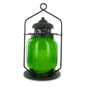 HomeReflections Indoor/Outdoor Flameless Candle Lantern with Timer (Green) -  H165617