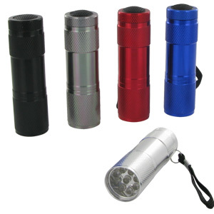 Ultra Bright 100,000 Hours 9-LED Flashlight (Random Colors)