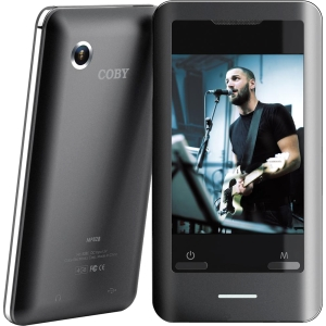"Coby MP828 8 GB Black Flash Portable Media Player - Audio Player, Photo Viewer, Video Player, Camera, FM Tuner - 2.8"" Color LCD - Touchscreen - miniSD Card"