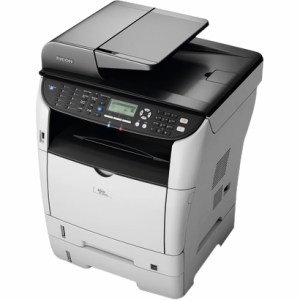 Ricoh Aficio SP 3500SF Laser Multifunction Printer - Monochrome - Plain Paper Print - Desktop - Printer, Copier, Scanner, Fax - 30 ppm Mono Print - 1200 x 1200 dpi Print - 30 cpm Mono Copy LCD - 1200 dpi Optical Scan - Manual Duplex Print - 300 sheets Inp