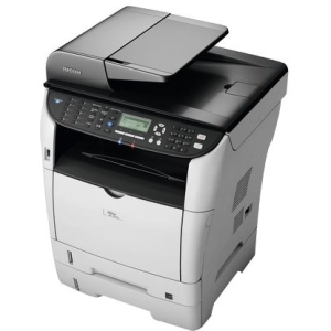 Ricoh Aficio SP 3510SF Laser Multifunction Printer - Monochrome - Plain Paper Print - Desktop - Printer, Copier, Scanner, Fax - 30 ppm Mono Print - 1200 x 1200 dpi Print - 30 cpm Mono Copy LCD - 1200 dpi Optical Scan - Automatic Duplex Print - 300 sheets