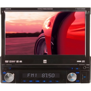 "Dual XDVD1170 Car DVD Player - 7"" Touchscreen LCD - 72 W RMS - Single DIN - DVD Video - FM, AM - Secure Digital (SD), Secure Digital High Capacity (SDHC), microSD Card - Auxiliary Input800 x 480 - iPod/iPhone Compatible - In-dash"