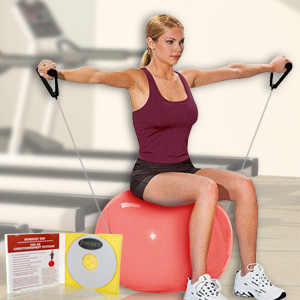 Pilates Ball with Resistance Tubing and Instructional DVD