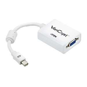 Aten Mini DisplayPort to VGA Adapter - DisplayPort/VGA for Video Device, MacBook, MacBook Pro, MacBook Air, Mac mini, Mac Pro, Monitor - 1 Pack - 1 x Mini DisplayPort Male Digital Audio/Video - 1 x HD-15 Female VGA - White, Blue