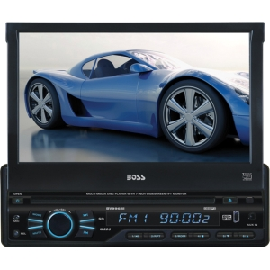 "Boss BV9965I Car DVD Player - 7"" Touchscreen LCD - 340 W RMS - Single DIN - DVD Video, SVCD, Video CD - AM, FM - Secure Digital (SD) - Auxiliary Input800 x 480 - iPod/iPhone Compatible - In-dash"