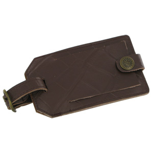 Travel Smart Embossed Genuine Leather Luggage Tag (Brown)