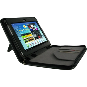 rooCASE Executive Portfolio Leather Folio Case for Samsung Galaxy Tab 2 10.1 - Black - Leather