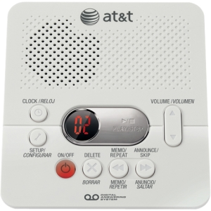 AT&T Digital Answering System with Time/Day Stamp - 1 Hour Digital , White
