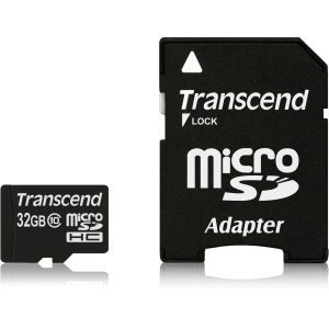 Transcend 32 GB MicroSD High Capacity (microSDHC) - 1 Card - Class 10 - 20 MBps Read - 17 MBps Write