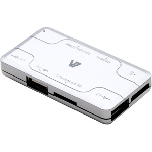 V7 Combo Card Reader with 3 USB Hubs (CU200-3NP)