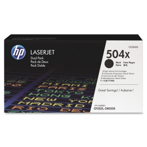 HP 504X Black Dual Pack LaserJet Toner Cartridges - Black - Laser - 10500 Page - 2 Pack