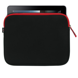 "Ultraportable Soft Neoprene Tablet & Netbook Sleeve - 7 to 10.2"" Black with Red Accents"