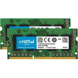 Crucial 16GB DDR3 SDRAM Memory Module - 16 GB (2 x 8 GB) - DDR3 SDRAM - 1600 MHz DDR3-1600/PC3-12800 - Non-ECC - Unbuffered - 204-pin - SoDIMM