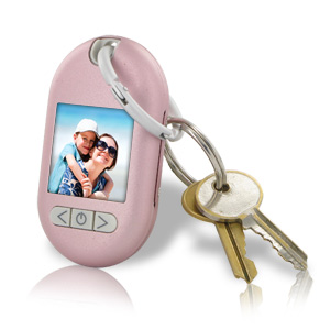 "Gear Head 1.5"" LCD Digital Photo Frame Keychain, Pink"