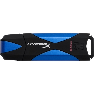 Kingston DataTraveler HyperX 64 GB USB 3.0 Flash Drive - Blue, Black