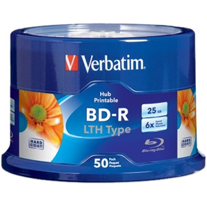 50PK BD-R LTH 6X 25GB WHITE HUB INKJET PRINTABLE W/ SPINDLE