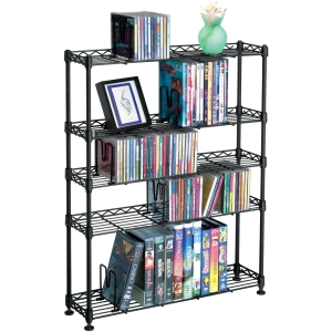 MAXSTEEL 5 TIER MM RACK BLACK HOLDS 275 CDS 152 DVDS/BLU-RAYS