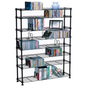 "Atlantic Maxsteel 8 Tier Media Rack For 440 CD Or 228 DVD And Bluray In Black - 48.8"" x 8.1"" x 26.1"" - Pocket(s)440 x CD, 228 x DVD, 264 x Blu-ray, 114 x VHS - 8 Tier(s) - Steel - Black"