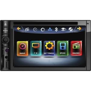 "Power Acoustik Inteq PD-622NB Car DVD Player - 6.2"" Touchscreen LCD - 68 W RMS - Double DIN - DVD Video, MP4, DivX, MKV, FLV, MOV, AVI - AM, FM - Secure Digital (SD), Secure Digital High Capacity (SDHC) - Bluetooth - Auxiliary Input800 x 480 - iPod/iPhone"