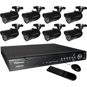 Clover Stand-Alone 16 CH DVR Bundle System with 8 High Resolution Color CCD Cameras - 8 x Digital Video Recorder, Camera - H.264 Formats - 500 GB Hard Drive