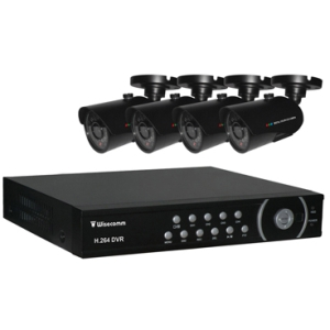 Clover Bundle System Ready Stand-Alone 4CH DVR 4 High Resolution Color CCD Cameras - 4 x Digital Video Recorder, Camera - H.264 Formats - 500 GB Hard Drive
