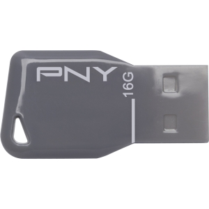 PNY Key Attaché 16 GB USB 2.0 Flash Drive - Gray