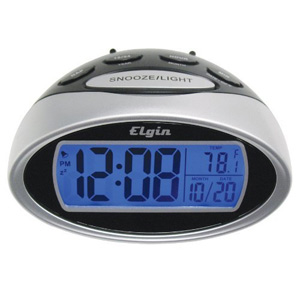 Elgin Battery Powered LCD Alarm Clock with Nap Timer 3408E - Silver