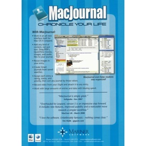 Mariner Software MacJournal v.5.0 - Complete Product - 1 User - Event Management - Standard Retail - CD-ROM - Mac