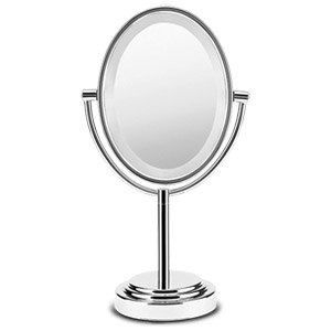 DOUBLE-SIDED LIGHTED MIRROR OVAL POLISHED CHROME