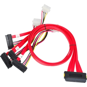 SIIG SCSI SAS Cable - SFF-8484 to 4x SFF-8482 - 75cm - SAS for Hard Drive - 2.46 ft - 1 Pack - 1 x SFF-8484 SAS - 4 x SFF-8482 SAS - Red