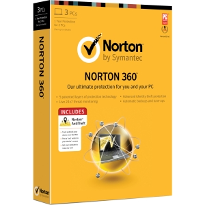 Norton 360 2013 - 3 PC in One Household - Internet Security - Standard - 1 Year Retail - CD-ROM - PC - English