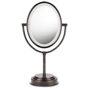 Oval Oiled Bronze Double-Sided Illuminated Mirror