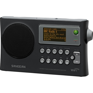 "Sangean WFR-28 Internet Radio - 1.3"" Screen - Wi-Fi - Black - Internet Streaming - MP3, WMA, RealAudio - Ethernet - USB - iPod Supported - DLNA Certified"