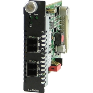 Perle C-100MM-S2LC120 Media Converter - 2 x LC Duplex Network - 100Base-FX, 100Base-ZX - Internal