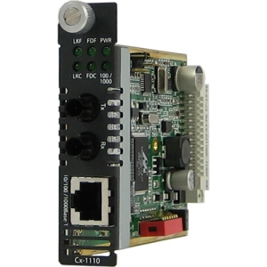 Perle C-1110-M2ST2 Media Converter - 1 x RJ-45 Network, 1 x ST Duplex Network - 10/100/1000Base-T, 1000Base-LX - Internal