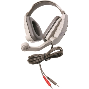 Califone Stereo Headphone W/ 3.5mm Plug, Mic, Via Ergoguys - Stereo - Gray, Beige - Mini-phone - Wired - 64 Ohm - Over-the-head - Binaural - Ear-cup - 6 ft Cable - Electret, Noise Cancelling Microphone