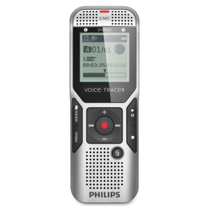 "Philips Voice Tracer Digital Recorder with 2Mic Stereo Recording - 2 GB Flash Memory - 1.5"" LCD - Portable"