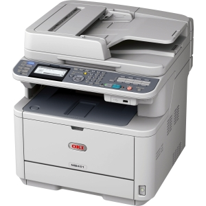 Oki MB451W LED Multifunction Printer - Monochrome - Plain Paper Print - Desktop - Printer, Scanner, Copier, Fax - 29 ppm Mono Print - 1200 x 1200 dpi Print - 29 cpm Mono Copy LCD - 600 dpi Optical Scan - Automatic Duplex Print - 350 sheets Input - Fast Et